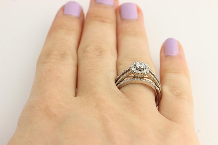 Diamond Ring and Wedding Band, 14 Karat White and Rose Gold Halo .77 Carat For Sale 5