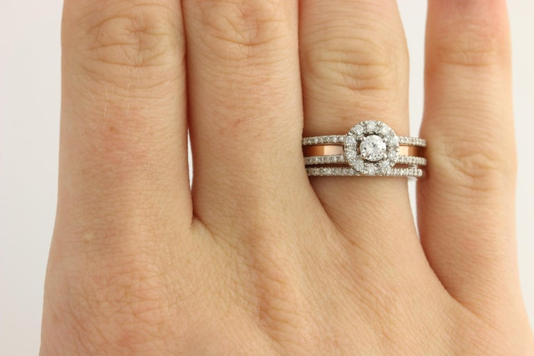 Diamond Ring and Wedding Band, 14 Karat White and Rose Gold Halo .77 Carat For Sale 6