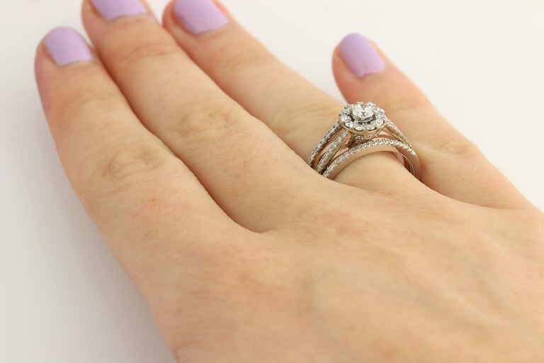 Diamond Ring and Wedding Band, 14 Karat White and Rose Gold Halo .77 Carat For Sale 7