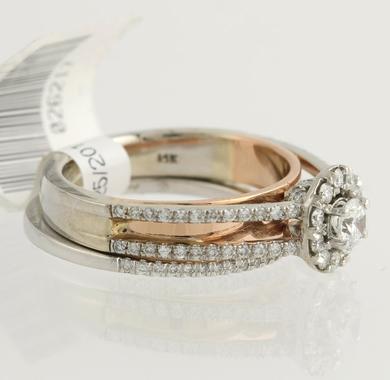 Round Cut Diamond Ring and Wedding Band, 14 Karat White and Rose Gold Halo .77 Carat For Sale