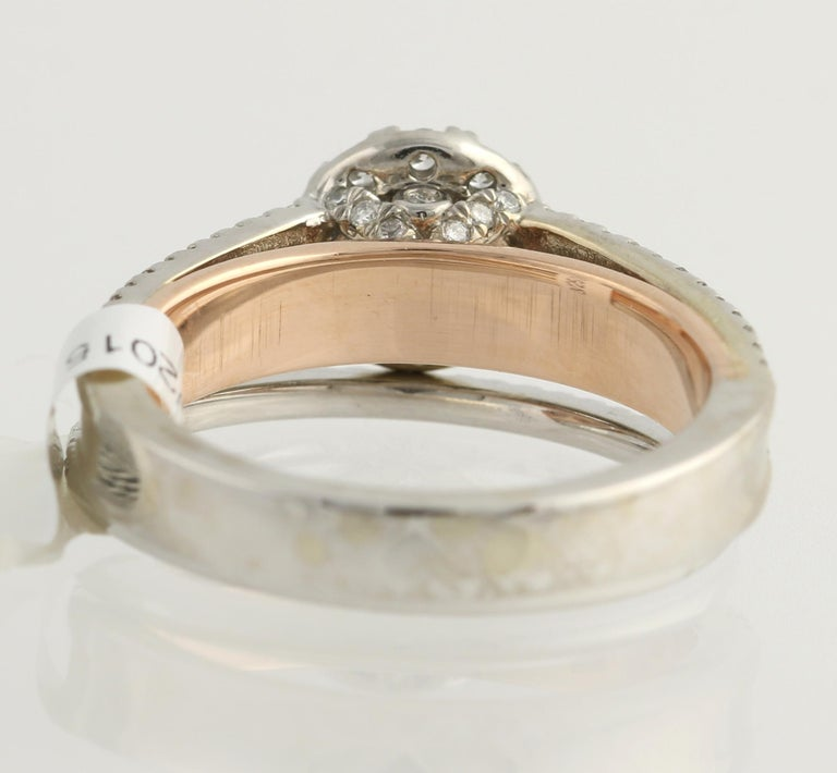 Diamond Ring and Wedding Band, 14 Karat White and Rose Gold Halo .77 Carat In New Condition For Sale In Greensboro, NC
