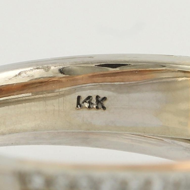 Women's Diamond Ring and Wedding Band, 14 Karat White and Rose Gold Halo .77 Carat For Sale