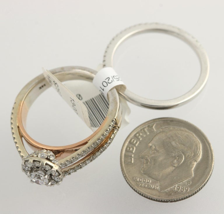 Diamond Ring and Wedding Band, 14 Karat White and Rose Gold Halo .77 Carat For Sale 1
