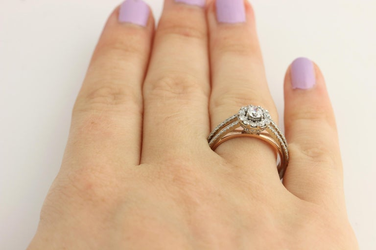 Diamond Ring and Wedding Band, 14 Karat White and Rose Gold Halo .77 Carat For Sale 2