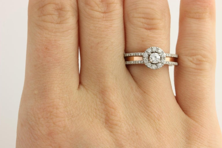 Diamond Ring and Wedding Band, 14 Karat White and Rose Gold Halo .77 Carat For Sale 3