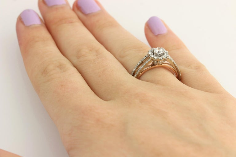 Diamond Ring and Wedding Band, 14 Karat White and Rose Gold Halo .77 Carat For Sale 4
