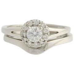 Diamond Halo Engagement Ring and Wedding Band 14 Karat White Gold 0.57 Carat