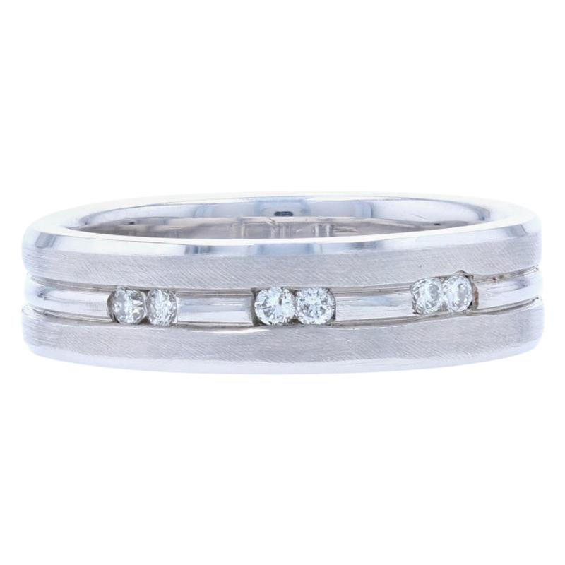 New Diamond Men's Wedding Band, 14 Karat White Gold Ring .12 Carat