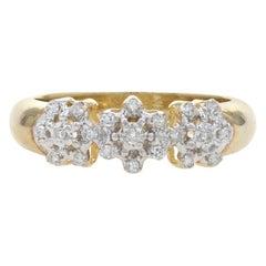 New Diamond Ring, 10k Gold Flowers Snowflakes Single Cut .20ctw