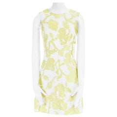 new DIANE VON FURSTERBERG Carpreena white yellow abstract jacquard dress US6 M