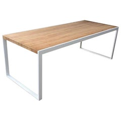 New Dining Table for Indoor and Outdoor in White Iron Structure with Wood Top