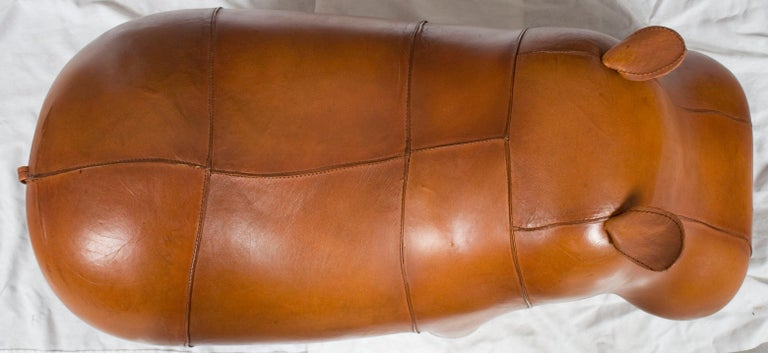 New Distressed Rustic Leather Hippo Hippopotamus Animal Footstool Ottoman For Sale 4