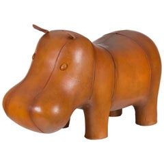 New Distressed Rustic Leather Hippo Hippopotamus Animal Footstool Ottoman