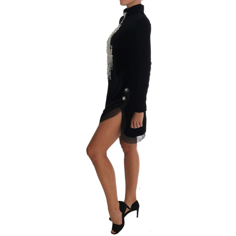 New Dolce & Gabbana Black Mock Neck Crystal Chandelier Dress For Sale 1