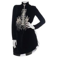 New Dolce & Gabbana Black Mock Neck Crystal Chandelier Dress