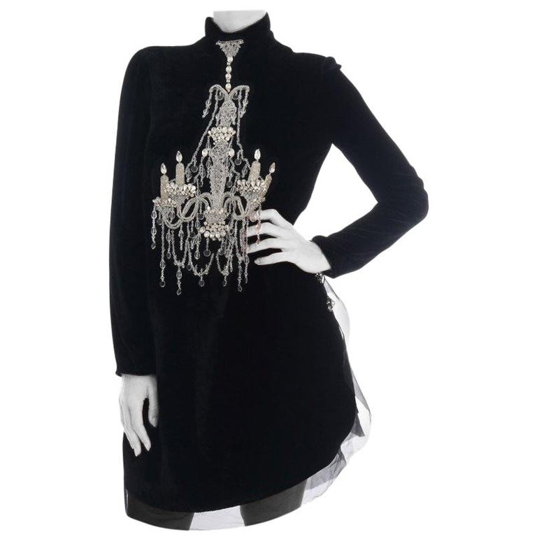 New Dolce & Gabbana Black Mock Neck Crystal Chandelier Dress For Sale