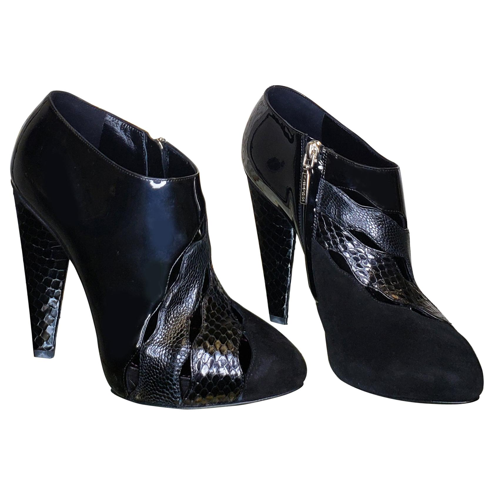 New DOLCE & GABBANA BLACK PYTHON AND PATENT LEATHER ANKLE BOOTS 36.5-6.5; 38-8