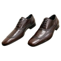 New DOLCE & GABBANA BROWN SPAZZOLATO LACES LEATHER SHOES 43 - 10
