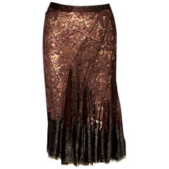 NEW Dolce & Gabbana Chocolate Brown Pleated Lace Silk Skirt