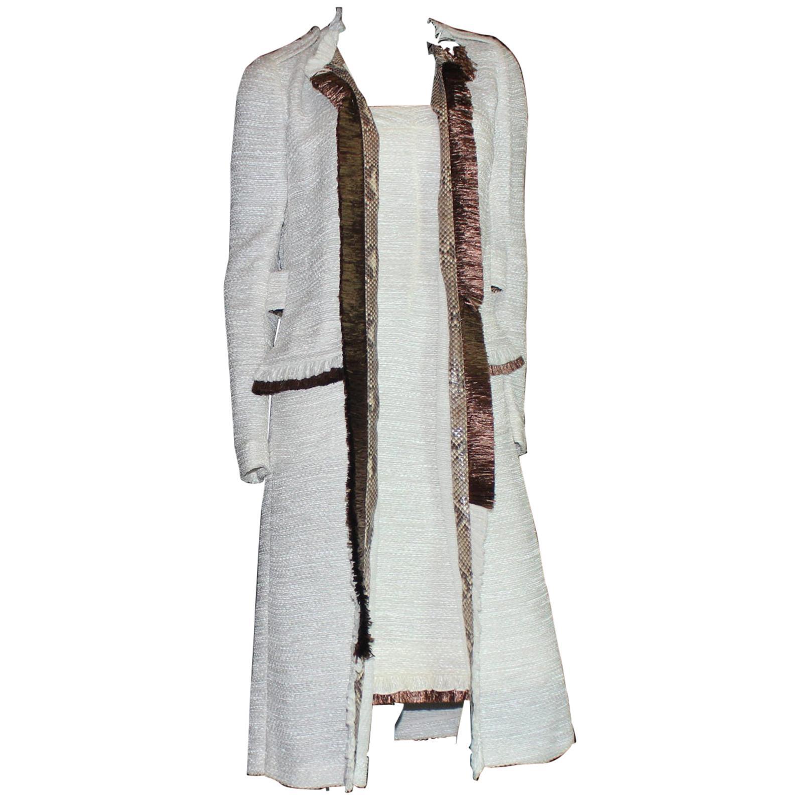 NEW Dolce Gabbana Corset Dress & Coat Suit Ensemble Frayed Python Trimming