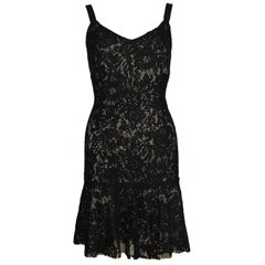 NEW Dolce Gabbana Crochet Knit Lace Print Silk Dress