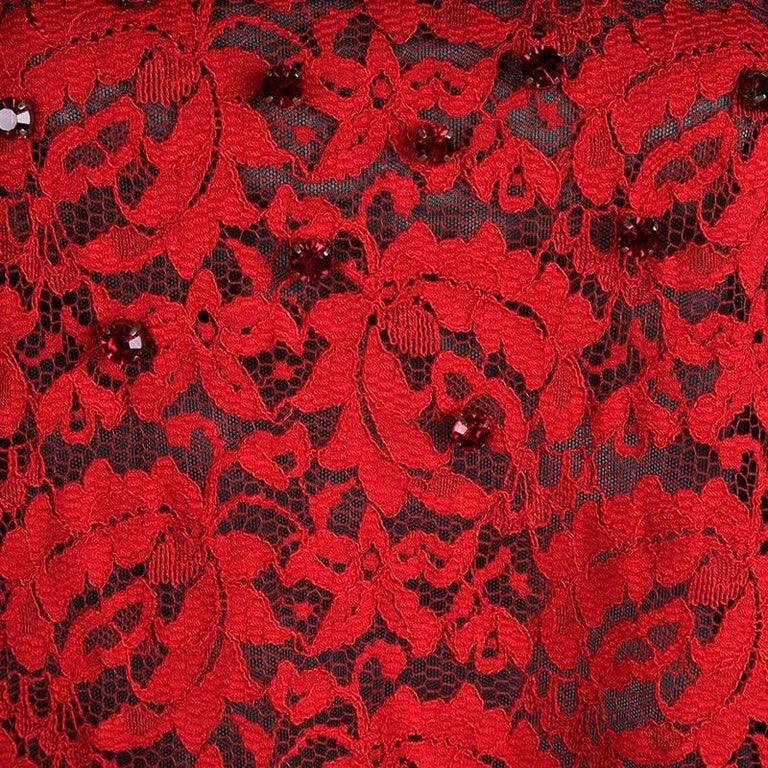 NEW Dolce & Gabbana Crystal Embellished Red Lace & Silk Dress For Sale 6
