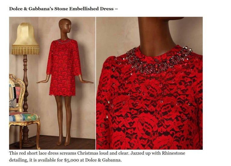 NEW Dolce & Gabbana Crystal Embellished Red Lace & Silk Dress For Sale 7