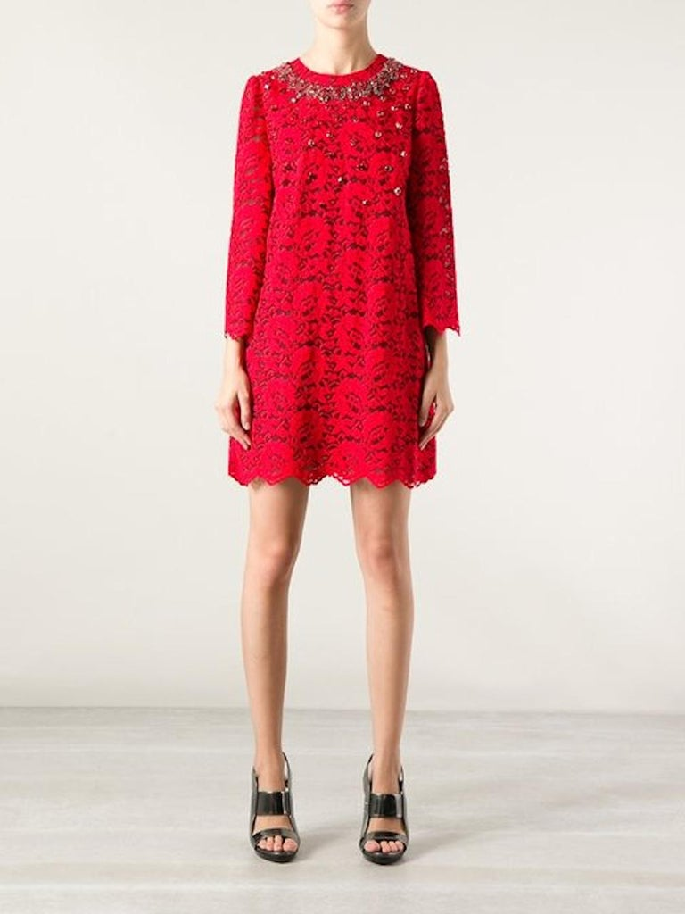 NEW Dolce & Gabbana Crystal Embellished Red Lace & Silk Dress For Sale 8