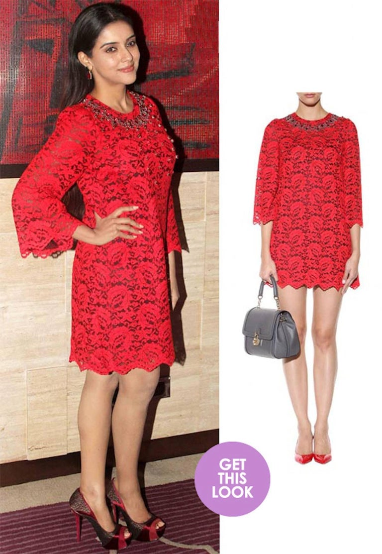 NEW Dolce & Gabbana Crystal Embellished Red Lace & Silk Dress For Sale 9