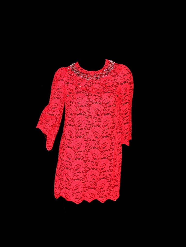 Women's NEW Dolce & Gabbana Crystal Embellished Red Lace & Silk Dress For Sale