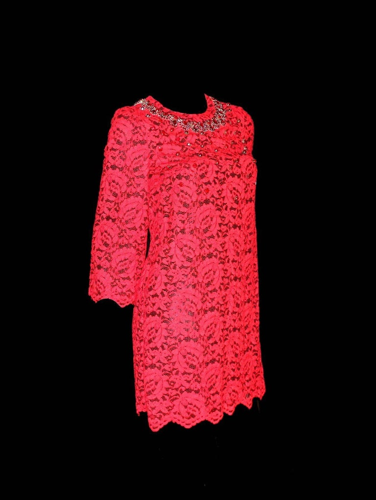 NEW Dolce & Gabbana Crystal Embellished Red Lace & Silk Dress For Sale 1