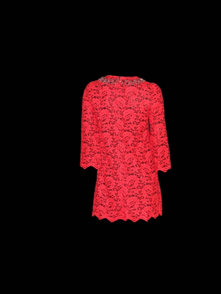 NEW Dolce & Gabbana Crystal Embellished Red Lace & Silk Dress For Sale 2