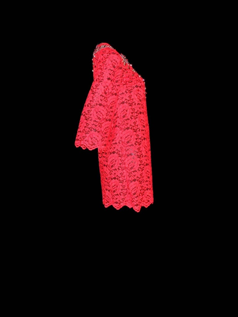 NEW Dolce & Gabbana Crystal Embellished Red Lace & Silk Dress For Sale 3