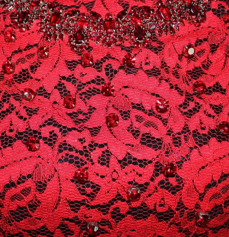 NEW Dolce & Gabbana Crystal Embellished Red Lace & Silk Dress For Sale 4