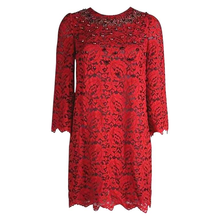 NEW Dolce & Gabbana Crystal Embellished Red Lace & Silk Dress For Sale