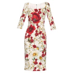 NEW Dolce & Gabbana Daisy and Poppy Print Silk Blend Dress sz IT42 US 4