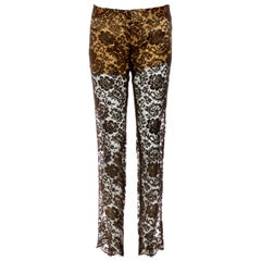 NEW Dolce & Gabbana Gold-Coated Semi-Sheer Lace & Silk Pants Trousers