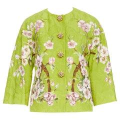 new DOLCE GABBANA green cherry blossom jacquard jewel button jacket IT36 XS