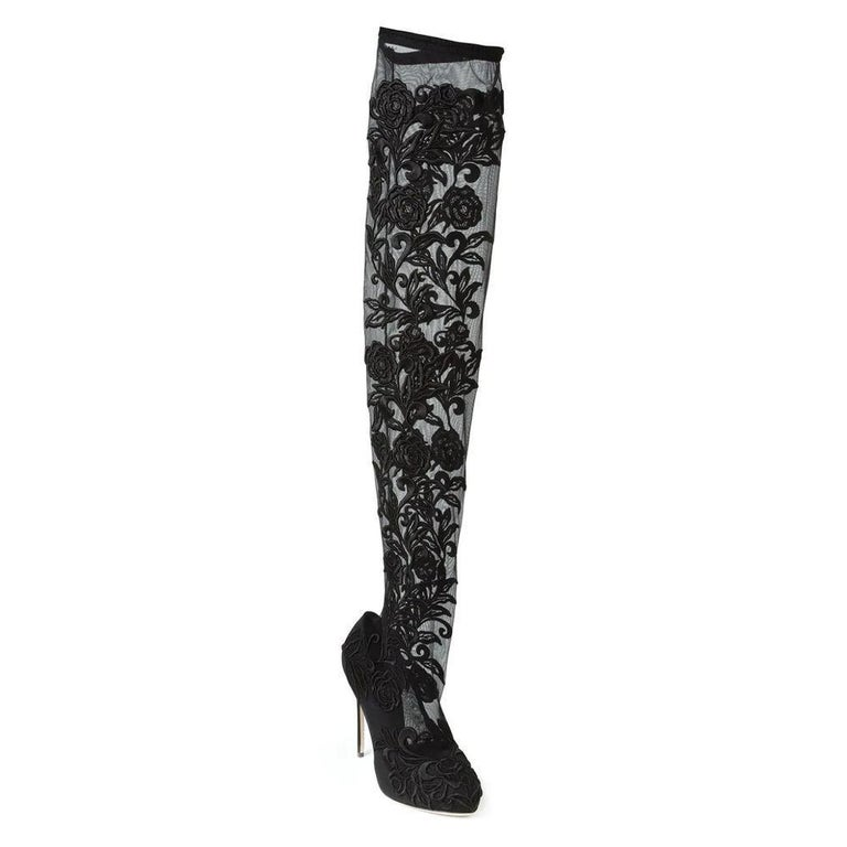 Black NEW Dolce & Gabbana Lace Panel Over the Knee Boots IT36 US 5.5 For Sale