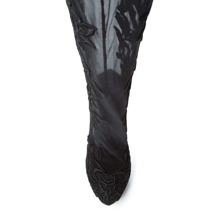 NEW Dolce & Gabbana Lace Panel Over the Knee Boots IT39 US 8.5 In New Condition For Sale In Brossard, QC