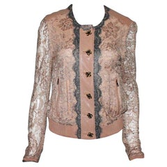NEW Dolce & Gabbana Leather Lace Jacket with Jewelry Buttons