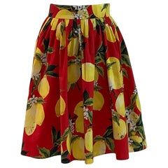 New Dolce & Gabbana Lemon Print Skirt in Red and Yellow