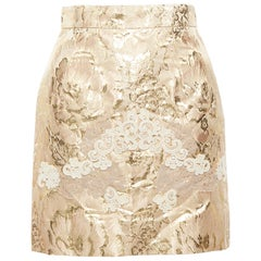 new DOLCE GABBANA metallic gold lace applique floral brocade fitted skirt IT36