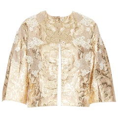 new DOLCE GABBANA metallic gold lace applique floral brocade jacket IT36 XS