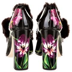 New Dolce & Gabbana Patent Leather Mink Pumps Heels Fall 2016 Sz 38.5