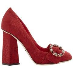 new DOLCE GABBANA red floral jacquard jewel buckle angular block heel EU35