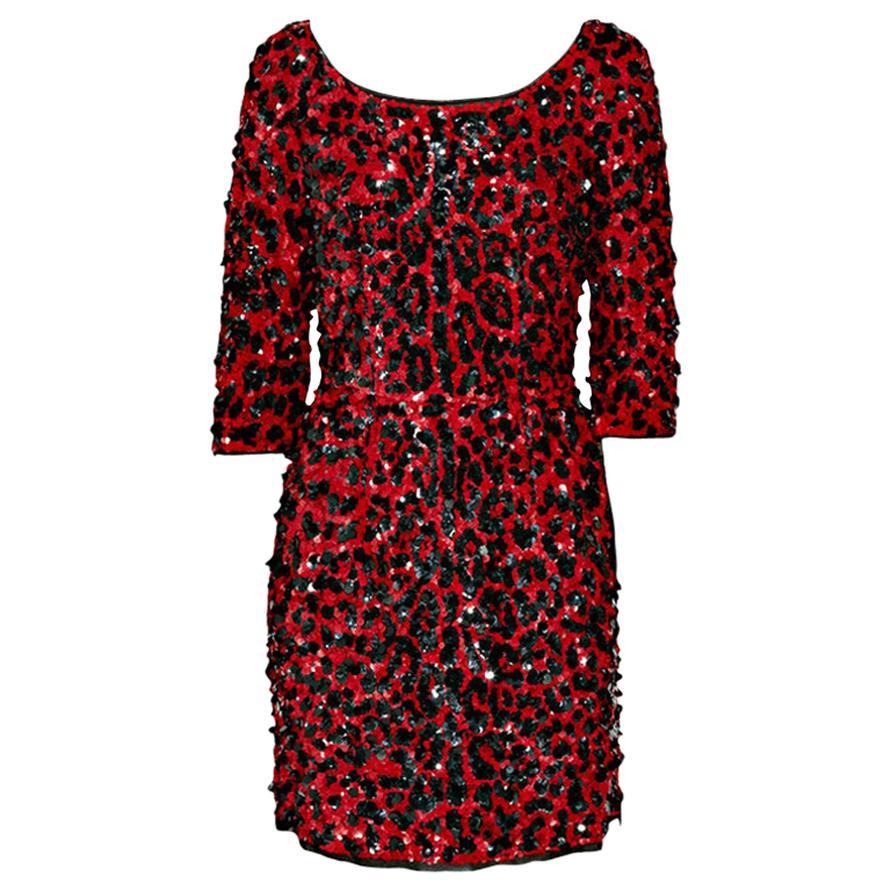 NEW DOLCE & GABBANA RED SEQUINED SILK LEOPARD PRINT DRESS Size 40