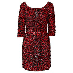 NEW DOLCE & GABBANA RED SEQUINED SILK LEOPARD PRINT DRESS Size 40