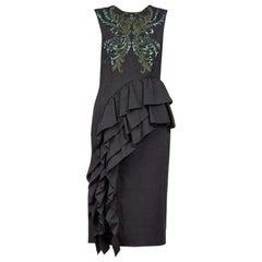New Dries Van Noten Black/Green Sequinned Asymmetric Ruffle Dress FR38 US 6