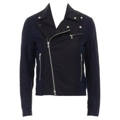 new DRIES VAN NOTEN blue quilted gold star emblem embellished biker jacket S